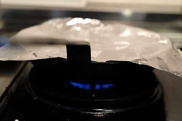 弱火で温める